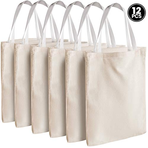 "Canvas Tote Bags - Bulk 12 Pack 13""x11"" Fabric Blank Tote Bags, Natural Cotton for DIY Crafts, Gift Bag and Wedding, Birthday, Promotion Giveaways, or Reusable Grocery Bag by Bedwina"