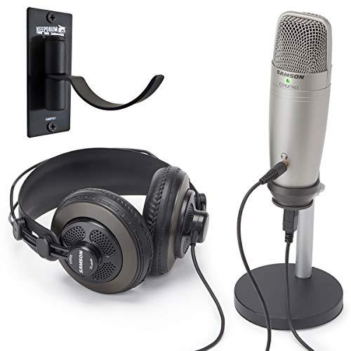Samson C01U Pro Podcast - Set con microfono a condensatore USB + supporto da parete per cuffie Keepdrum