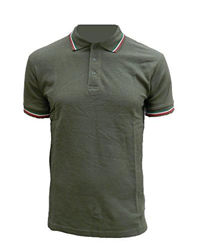 ALGI Polo Maniche Corte con Bordo Tricolore Verde Militare (S)