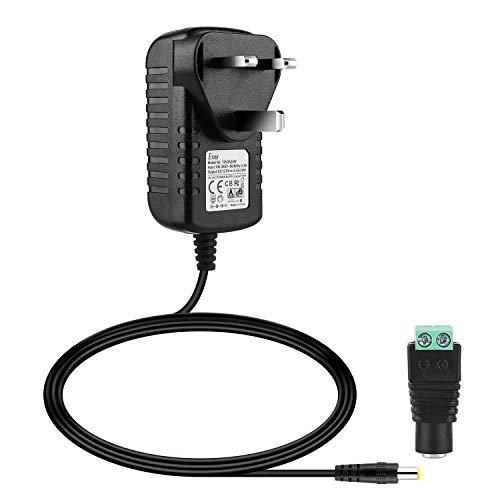 EFISH Netztransformator, 12 V, 2 A, 24 W, AC 100–240 V auf DC 12 V, Netzteil-Adapter für LED-Streifen, Aquarium, Radio, Scanner, Router, CCTV-Kamera, Türklingel, Haushaltselektronik