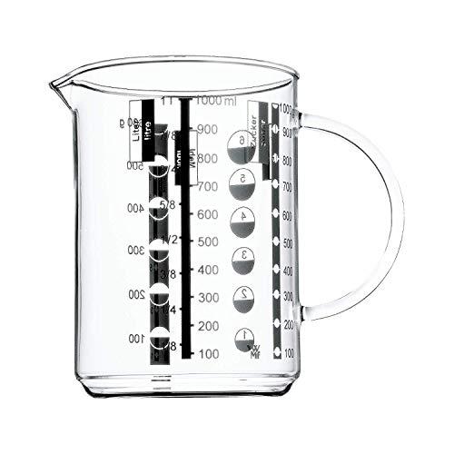 WMF Gourmet Glas Messbecher 1,0l, hitzebeständiges Glas, Skalierung für Liter, Milliliter, Tassen und Gramm