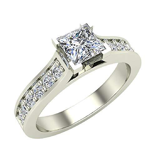 Anillos de compromiso Anillos de diamantes talla princesa para mujer Oro blanco de 14 quilates 3/4 quilates t.w. (G, VS) (Tamaño del anillo 9)