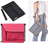 TANGGER 2 PCS A5 Tasche Portadocumenti per Blocco Note Passaporto Mini iPad Card,Portadocumenti File Organizer A5 con Manici,Nero e Rosa Rossa