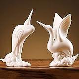J.Mmiyi Grúa Estatuas Decorativas de Cerámica Figura, Esculturas De Animales Hechas A Mano Zen para Escritorio, Oficina, Hogar Decoración,Set