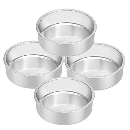 Stainless Steel Cake Pan Set 4, HKJ Chef Round Cake Pan & Round Baking Cake Pans Set, For Baking Steaming Serving, Healthy & Sturdy, Easy Clean & Dishwasher Safe , Size of 8inch