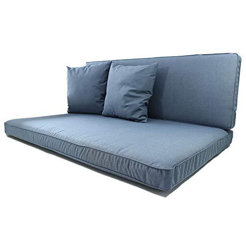 Nordje Palettenkissen Set Comfort bestehend aus Sitzkissen (120 x 80 cm) und Lehne (120 x 40 cm) für Ihre Outdoor Palettenlounge inkl. Dekokissen (2 Stück) (Blau)