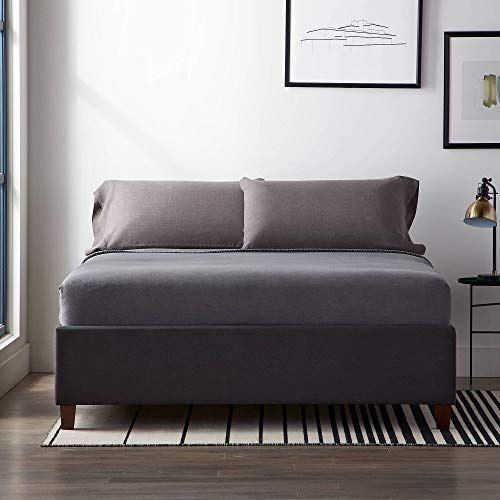 LUCID Upholstered Bed with Slats – Linen Inspired Fabric – No Box Spring Required – Compatible with Adjustable Bases Platform, King, Charcoal