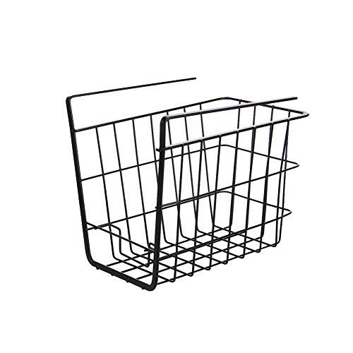 1 cesta de alambre para colgar debajo de los estantes, estante de almacenamiento para la cocina, librería, despensa, cestas deslizables, organizador (negro)