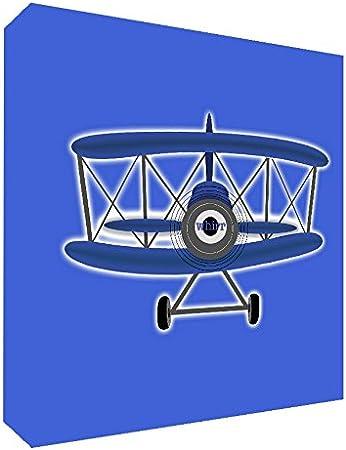 Feel Good Art Lienzo con marco en vidrio s/ólido estilo moderno de ilustraci/ón avi/ón deportivo de /época 10,5 x 14,8 x 2 cm modelo peque/ño color azul//blanco