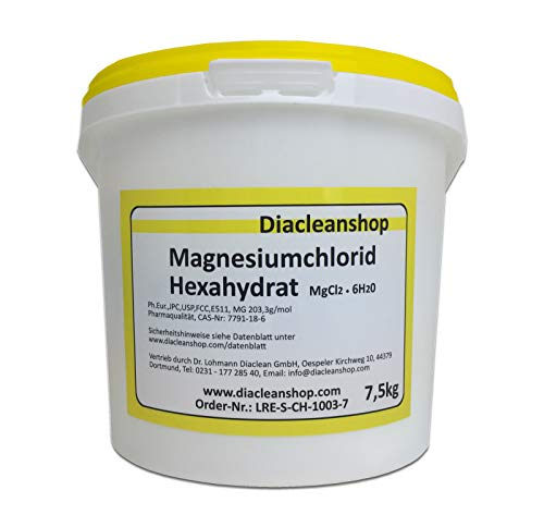 Magnesiumchlorid Hexahydrat 7,5kg - reinste Pharmaqualität (E511) – Magnesium chloride u.a. zur Herstellung von Magnesiumöl, Magnesium Spray, Magnesium Fußbad, Magnesium Vollbad uvm