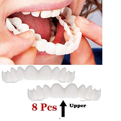 GAOwi 8 Stück Veneers Zähne Temporäre kosmetische Zähne Prothesenzähne Simulierte Zahnspange Obere Zahnspange Bleaching Zähne Snap Cap On Instant Komfortable Flex Perfekte Furniere