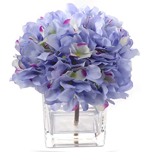 Larksilk Artificial Hydrangea Flower Arrangement Set in Vase   Gorgeous Blue Silk French Mophead Hortensia Hydrangea Bush with Pink Highlights