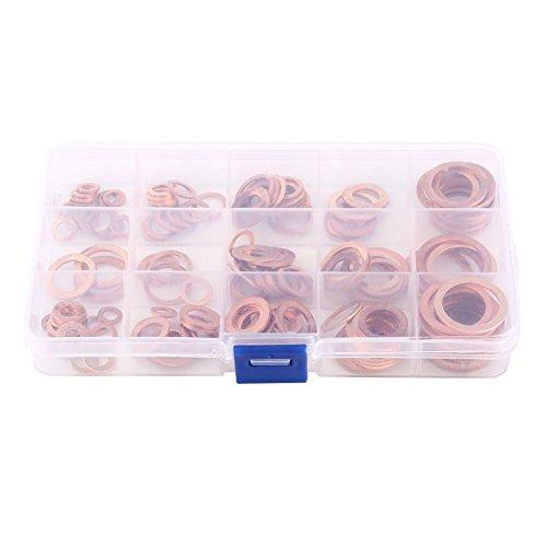 Preisvergleich Produktbild Trainingsunterlagen für 15 Größen Metrisches Ring Kupfer flach Unterlegscheiben Vielzahl Set Dichtringe Sortiment Kit mit Box