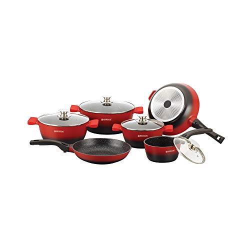 Herzog HR-ST16M BLK - Batería de cocina (16 piezas, sin PFOA, revestimiento de piedra, para todos los fuegos, incluida inducción, luxuru calidad