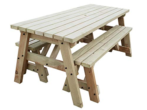 Victoria Compact Wooden Picnic Table and Benches Set, Space Saving Outdoor Garden Furniture with Benches Sliding Under The Table - Light Green (Natural) or Rustic Brown (4ft, Light Green (Natural))