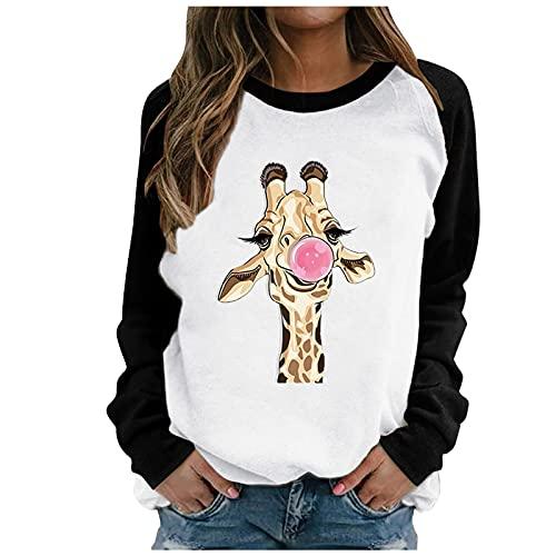 TDEOK Jersey informal de cuello redondo de manga larga con estampado de jirafa, jersey para mujer raglán, cálido y cómodo para invierno, Negro , L
