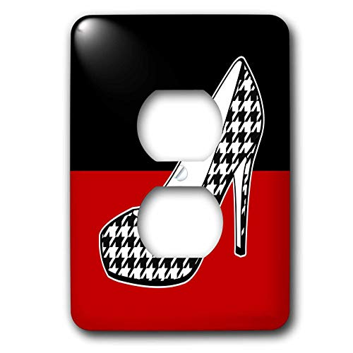 Duplex Receptacle Outlet Wallplate 1 Gang Outlet Covers I Love Shoes Houndstooth Print High Heel Shoe On Black and Red Classic Beadboard Wall Plate Decorator Unbreakable Faceplate