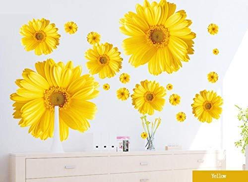 Ligoi 9pz Fiori Crisantemi Giallo Crisantemi Margherita Fiori Adesivi Murali Decalcomania Decal Home Decor per Soggiorno Camera da Letto Studio TV Parete