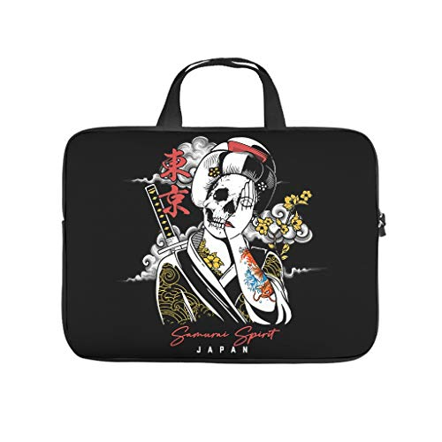 Japanese Skull Spirit Laptop Case Bag Waterproof Carry On Handle Case for Notebook/MacBook/Ultrabook/Chromebook White 10 Zoll