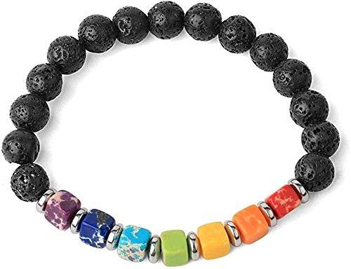 NC110 Pulseras de Hilo de Piedra Natural Cuadradas 7 Chakra Turquesas Bead Reiki Crystal Brazaletes elásticos para Mujeres (Color del Metal: Howlite) -Lava