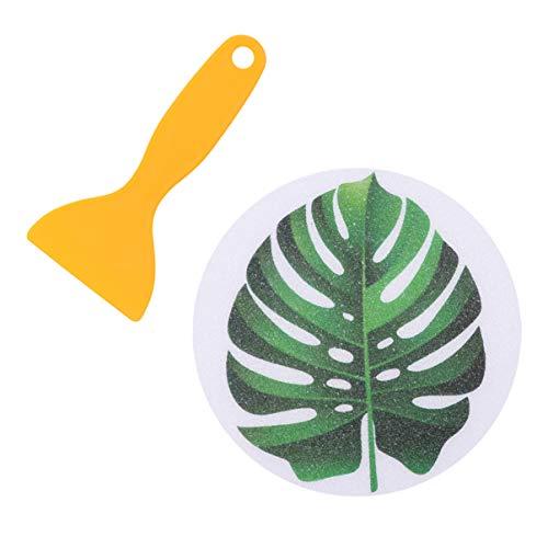 Cabilock Anti Rutsch Sticker Aufkleber Tropische Blätter Muster Antirutsch Pads Badewannenaufkleber Selbstklebend Sicherheit Rutschschutz mit Schaber für Kinder Dusche 8 Stück Grün