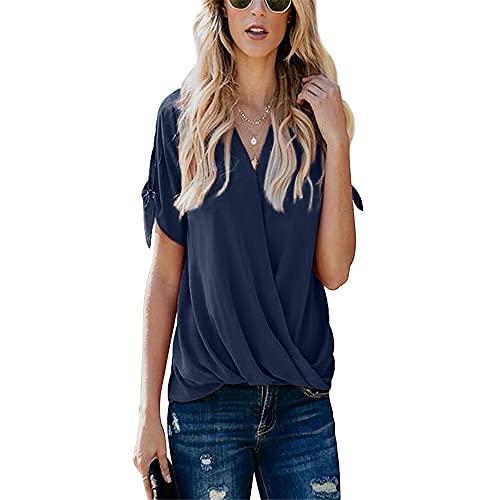 Top de Verano para Mujer Camisa de Manga Corta Impreso Top Plisado Suelto Camiseta con Cuello en v Moda Casual Camisa Superior Plisada Informal Top Jersey Casual Adecuado para Todas Las Ocasiones