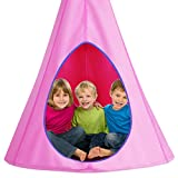 Costzon Kids Nest Swing Chair, Hanging Hammock Seat w/Adjustable Rope, 2 Windows and 1 Entrance, Hanging Tree Tent for Indoor Outdoor Use, 250LBS Capacity, All Accessories Included (32', Pink)
