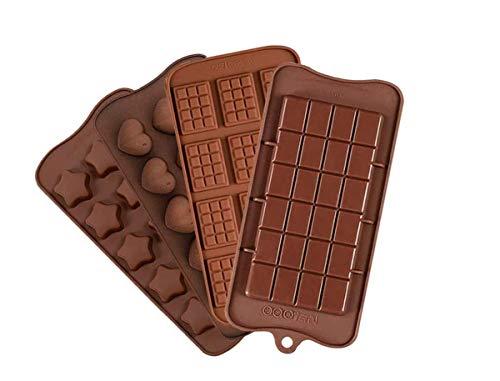 4 piezas de molde de silicona para chocolate, molde para dulces, molde para hornear de cocina, revestimiento antiadherente, anti-rotura, utilizado para hacer pastel de muffins de chocolate dul