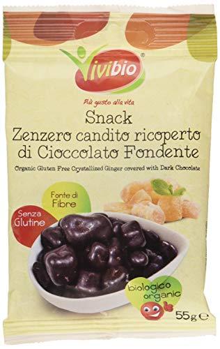 Vivibio Snack Zenzero Candito Ricoperto di Cioccolato Fondente S/Glutine Bio -55 g