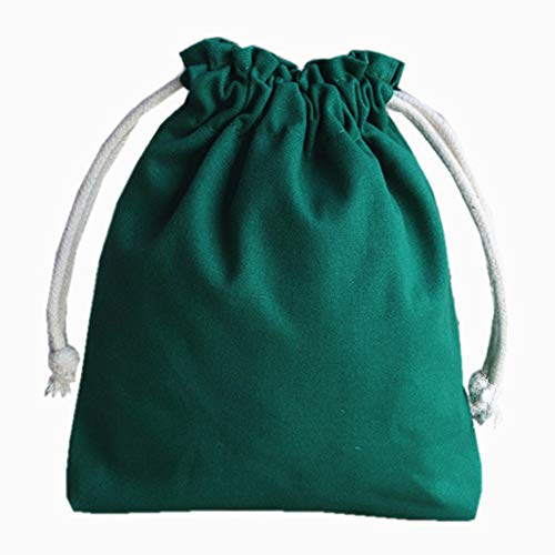 Kentop Bolsa de tela para joyas, con cordón, estilo vintage, color sólido, para boda, fiesta, regalo (verde)