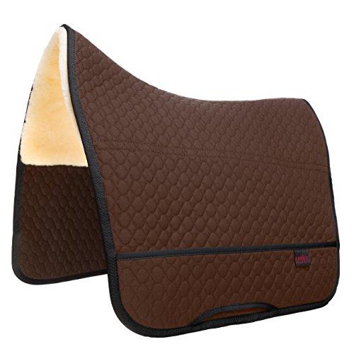 CHRIST Lammfell Satteldecke Champ Fellsattel Iberica Plus – Schabracke mit Sitzbereich aus echtem Lammfell, Sattelunterlage dämpfend, wärmend in braun, Gr.: Pony
