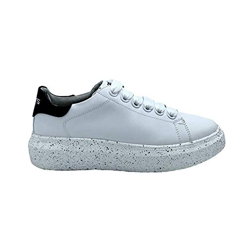 Sneakers Platform con Schizzi di Vernice (Bianco/Nero, 36)