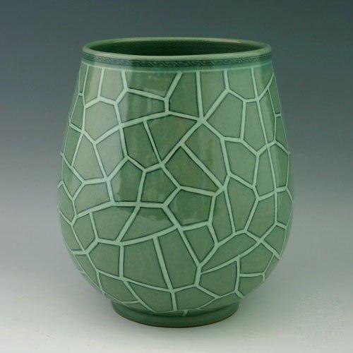 Korean Céladon Glaze Inlaid Blanc Motif craquelures en porcelaine vert de cuisine en céramique Pottery Pot rond d'intérieur de décoration
