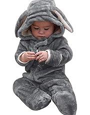Sweet Mommy ベビー くまさん うさぎさん 着ぐるみ ロンパース ジャンプスーツ カバーオール 防寒 フード付き マシュマロボア オーガニックコットン裏地