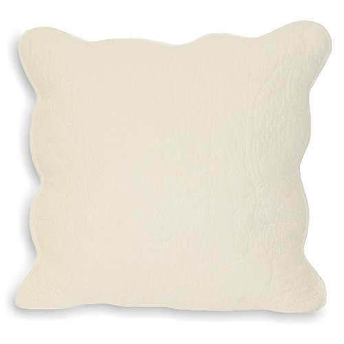 Paoletti Toulon Blumenmuster Baumwolle Kissenbezug, gesteppt, Creme, 45x 45cm