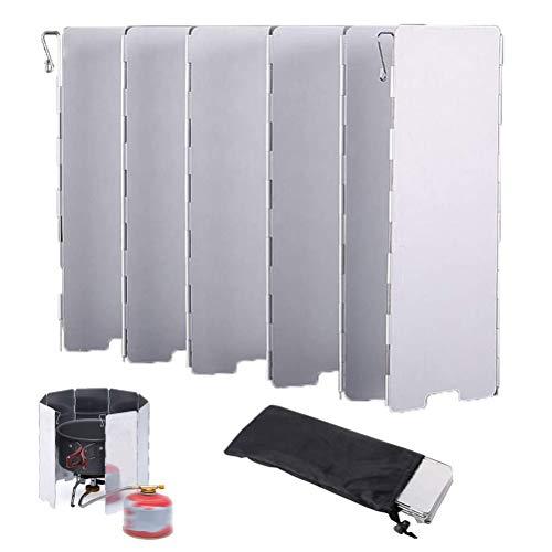 OLT-EU Faltbar Windschutz Aluminium, Faltbarer Wind-und Spritzschutz, Windschutz für Gaskocher/Campingkocher mit 10 Lamellen aus Aluminium (+ Lagerung Tasche)