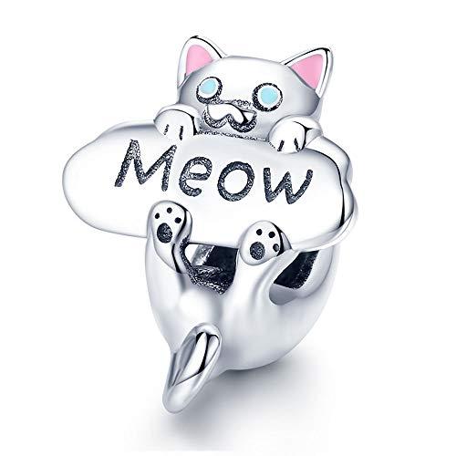 Reiko Abalorio de Gato Meow,Colgante de Plata de Ley 925,Originales Charm para Pulseras Pandora&Chamilia y Collares,Joyería para Mujer y Niña