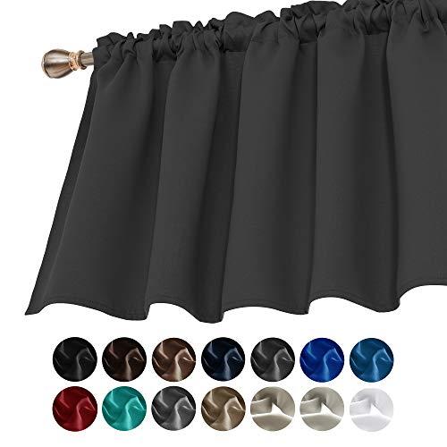 Deconovo Dark Gray Valances for Window Kitchen Valance Textured Embossed Blackout Valance Curtain 42x18 Inch 1 PCS