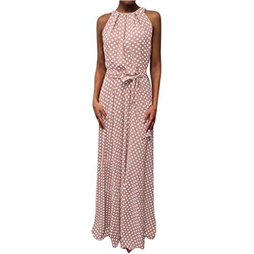 VEMOW Faldas Mujer Vestido De Playa Sin Mangas con Estampado De Puntos De Verano Casual para Mujer Faldas(Rosado,S)
