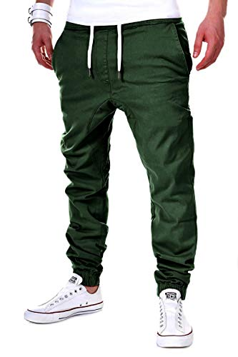 behype. Herren Chino-Hose Stretch Low Crotch Basic Jeans-Hose 80-0006 Khaki XL/W36
