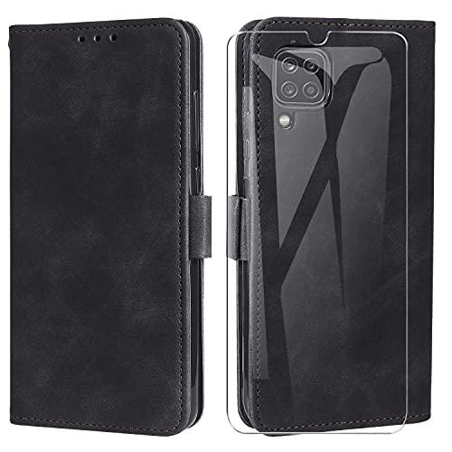 MOONESS Funda Samsung Galaxy A12 con Protector Pantalla Cristal Templado,Funda Libro Magnético Carcasa para Samsung Galaxy A12 - Negro