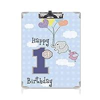 クリップボード A4 1歳の誕生日の装飾 学用品A4 バインダー 手描きの風船パーティーをテーマにした空の象 A4 タテ型 クリップファイル ワードパッド ファイルバインダー 携帯便利スカイブルーとグレー