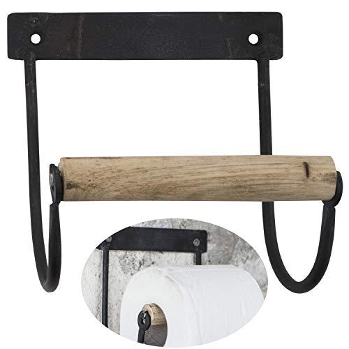 LS-Design Metall Toilettenpapierhalter Schwarz 14cm Altum Rollenhalter Holzrolle