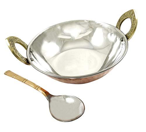 Indianbeautifulart Speziell Authentische indische traditionelle Art-Kupfer-Stahl Servierware Karahi Geschirr Geschirr entworfen