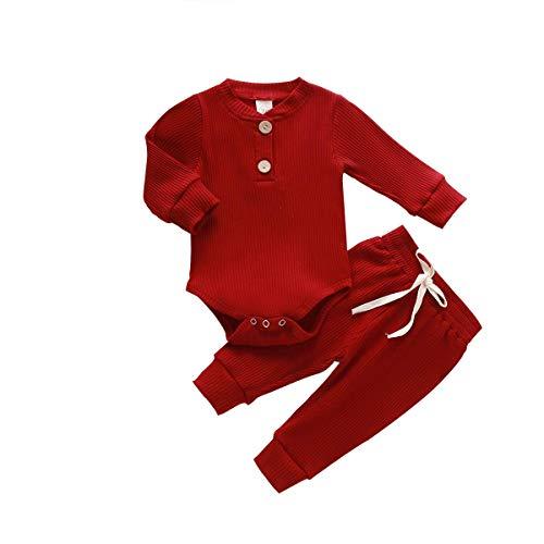 Pijamas para bebés recién Nacidos, Pantalones de Mameluco de Manga Larga, Trajes para bebés, Acanalados, a Rayas, Otoño Invierno, Ropa de Abrigo (6-12 Meses,Vino Tinto)