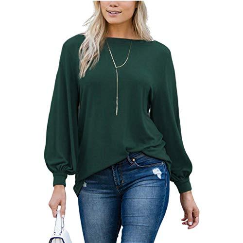 La Camiseta De Las Mujeres, La Primavera Y Otoño De La Manera Camiseta Sólido Ocasional Cuello Redondo Color Linterna De Manga Larga Jersey Suelto Top,c,L