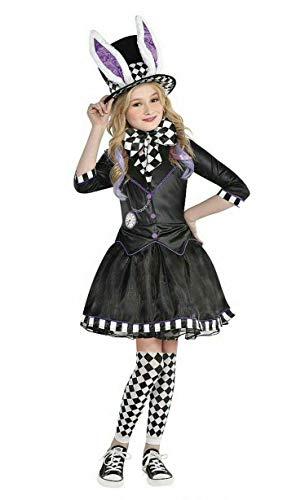 Halloween-Kostüm für Kinder, Mädchen, verrückter Hutmacher, 4-teiliges komplettes Outfit Gr. 9-10 Jahre, schwarz / weiß