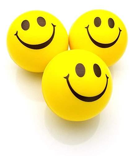 JRing Billes Anti-Stress, Boule de Stress, Boucle de Soulagement du Stress, Presses Souriantes, Balles de Stress Exercées à la Main, Parfaites pour Soulager l'anxiété de Stress (Paquet de 3, Jaune)