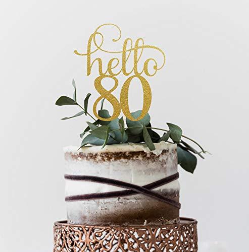 Mike21Browne Hallo 80 Jahre 80. Geburtstag Cake Topper Happy 80. Kuchen Dekoration 80. Jahrestag Glitter Topper Achtzigstes Dekor Achtzig Kuchen