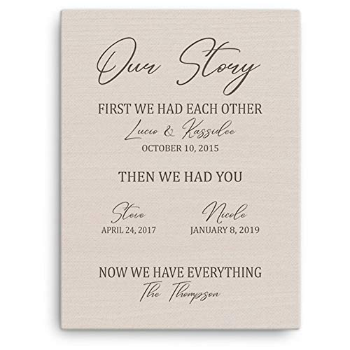 Personalized Canvas Wall Art Print Gifts. Custom Framed Canvas from Name, Quote & The Special Date for The Wedding Anniversary, Graduation, Family Tree, New Homeowner & Ready to Hang (Story Brown)